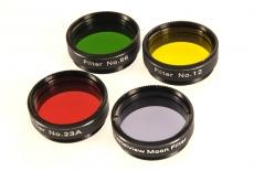 Mond / Planeten Filterset 1.25 (4 Glas Farbfilter) Gelb, Rot, Grün und Mond / Graufilter