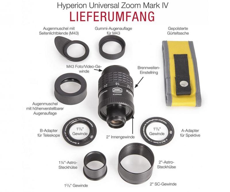 Baader Hyperion Mark IV Zoom 8-24mm 68 Grad 1,25 Zoll und 2 Zoll Lieferumfang