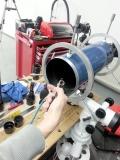 Hier reinigen wir einen SkyWatcher Refraktor 150mm 750mm f/5.